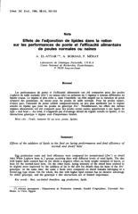 Effets de l'adjonction de lipides dans la ration sur les performances de ponte et l'efficacité alimentaire de poules normales ou naines.pdf