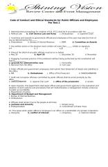 Code of Conduct and Ethical Standards for Public Officials and Employees (R.A. 6713) Examination king pre test 2.doc