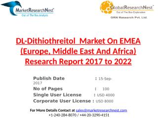DL-Dithiothreitol  Market On EMEA (Europe, Middle East And Africa) Research Report 2017 to 2022.pptx